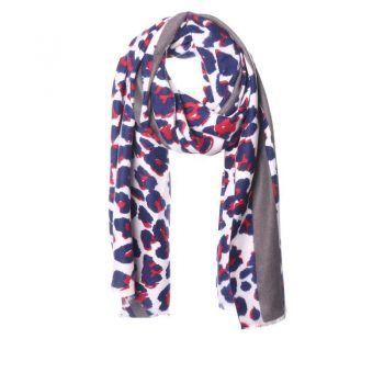 Biba sjaal grijs-blauw-rood-creme print