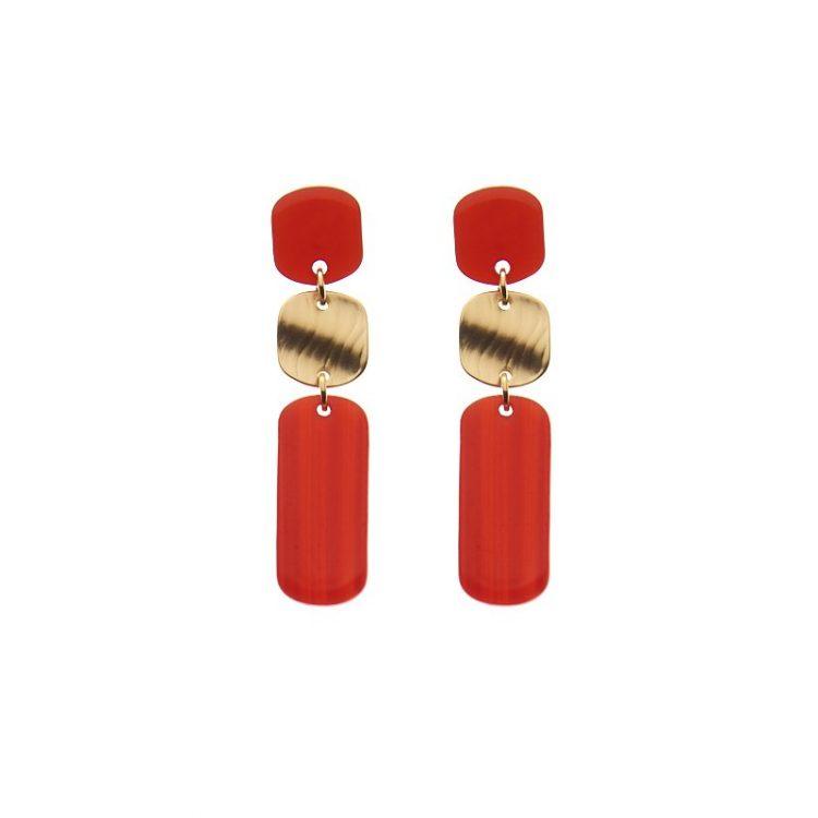 Biba oorbellen Colinda goudkleurig - rood