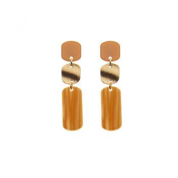 Biba oorbellen Colinda goudkleurig - oranje bruin