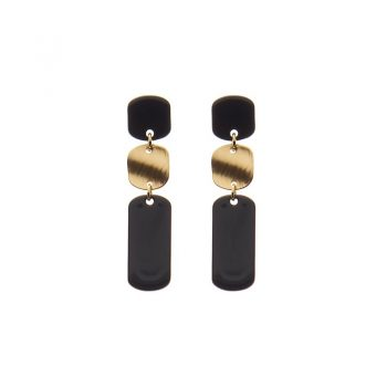 Biba oorbellen Colinda goudkleurig - zwart