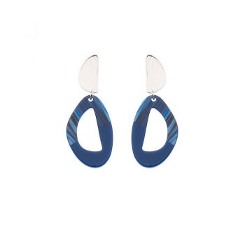 Biba oorbellen Liz zilverkleurig - blauw