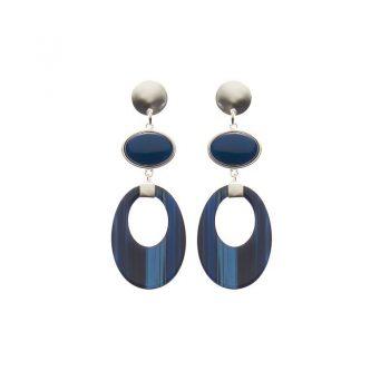 Biba oorbellen Sophie zilverkleurig - blauw gestreept