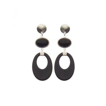 Biba oorbellen Sophie zilverkleurig - zwart