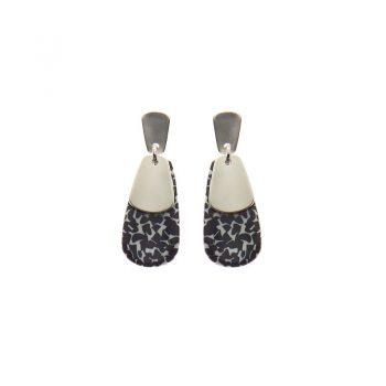 Biba oorbellen Tess zilverkleurig - zwart wit