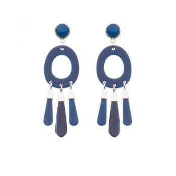 Biba oorbellen Cleo zilverkleurig - blauw