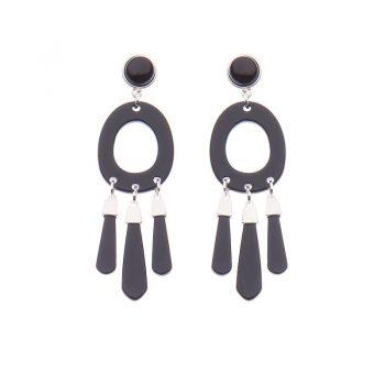 Biba oorbellen Cleo zilverkleurig - zwart
