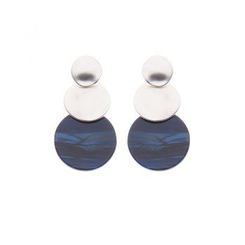 Biba oorbellen Lotte zilverkleurig - blauw