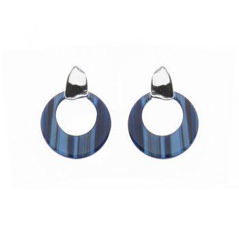 Biba oorbellen Cira glans zilverkleurig - blauw