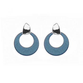 Biba oorbellen Cira glans zilverkleurig - groen / blauw