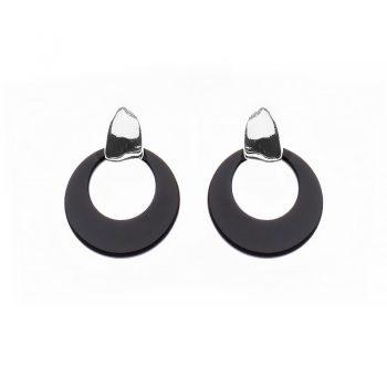 Biba oorbellen Cira glans zilverkleurig - zwart