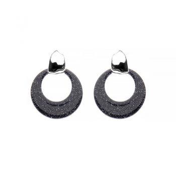 Biba oorbellen Cira glans zilverkleurig - zwart glitter