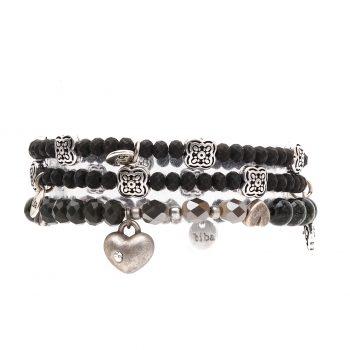 Biba kralen armbanden grijs tinten-zilverkleurig 3 delig