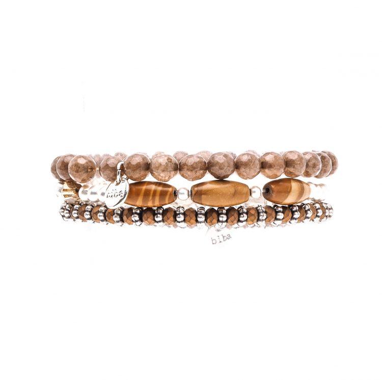 Biba kralen armbanden bruin zilverkleurig 3 delig