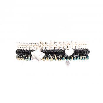 Biba kralen armbanden zwart-grijs- zilverkleurig 4 delig
