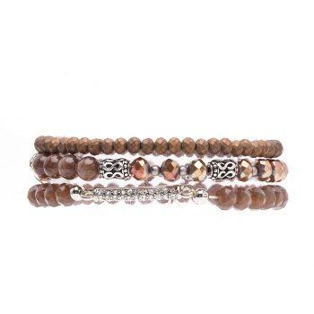 Biba kralen armbanden bruin met steentjes 3 delig
