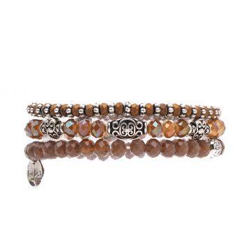 Biba kralen armbanden fijne bruine zilverkleurige kralen 3 delig