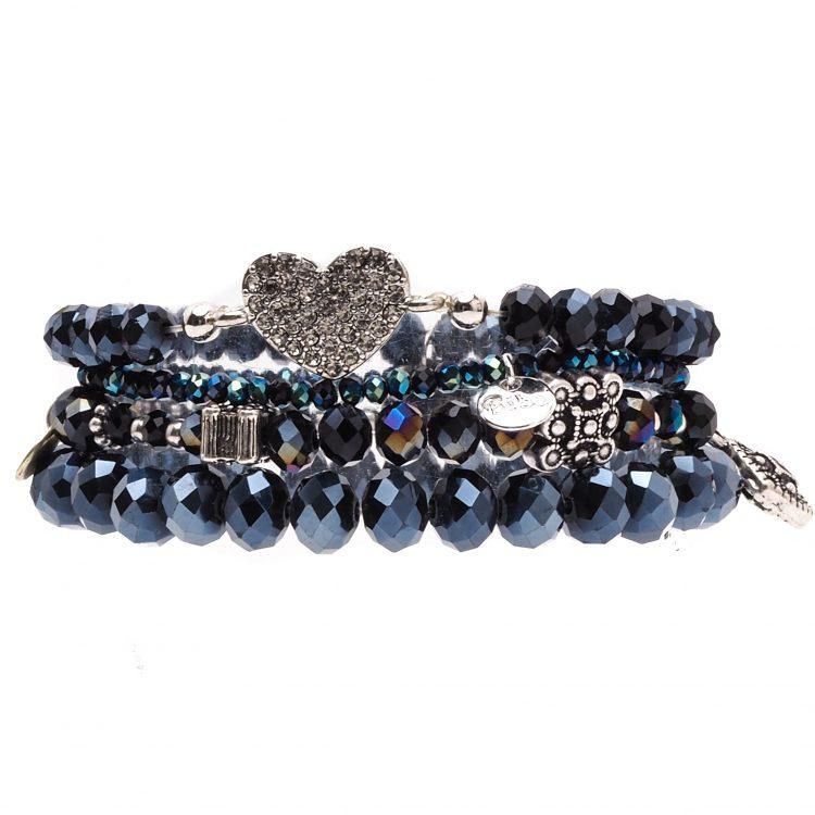 Biba kralen armbanden met hartje tinten blauw 4 delig