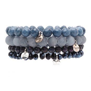Biba kralen armbanden licht- en donkerblauw 4 delig