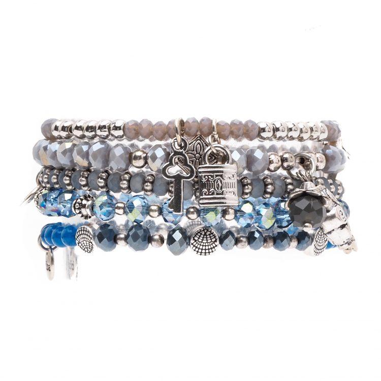 Biba kralen armbanden blauw- zilverkleurig 5 delig