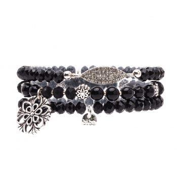 Biba kralen armbanden zwart met hanger 3 delig