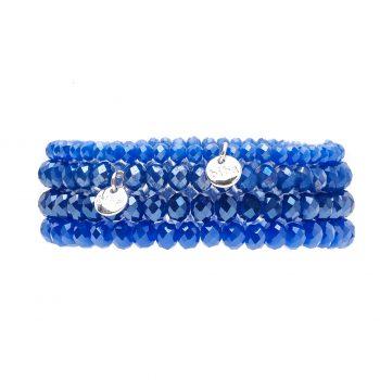 Biba kralen armbanden fel blauw 4 delig