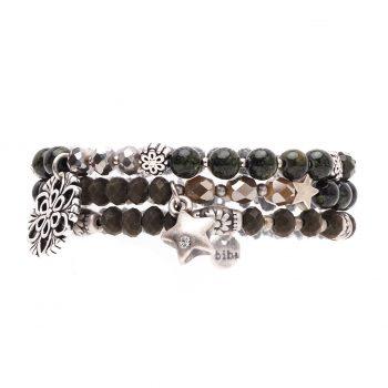 Biba kralen armbanden grijs-zilverkleurig 3 delig