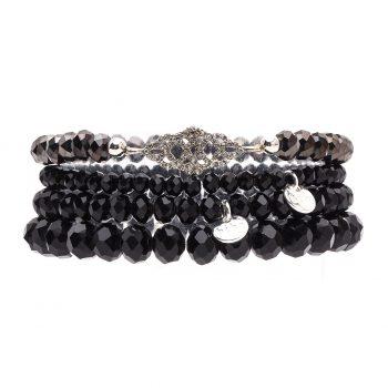 Biba kralen armbanden zwart met sierstuk zilverkleurig 4 delig