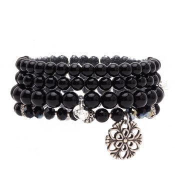 Biba kralen armbanden zwart - zilverkleurig 4 delig