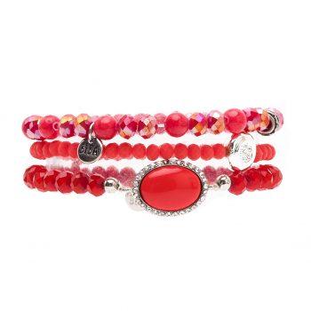 Biba kralen armbanden koraal-rood-zilverkleurig 3 delig