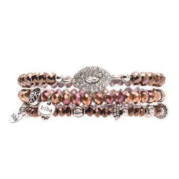 Biba kralen armbanden bronskleurig - bruine kralen 3 delig