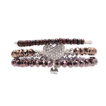Biba kralen armbanden bruin - zilverkleurig 3 delig