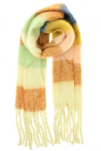 Sjaal Jacky overlopende gekleurde blokken -beige