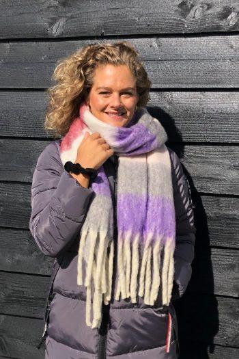 Sjaal Jacky overlopende gekleurde blokken - paars