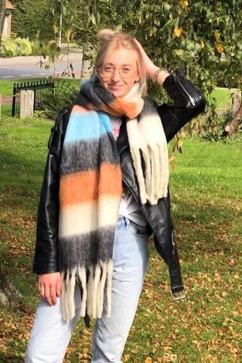 Sjaal Jacky overlopende gekleurde blokken - zwart