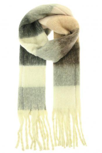 Sjaal Jacky overlopende gekleurde blokken - grijs zwart