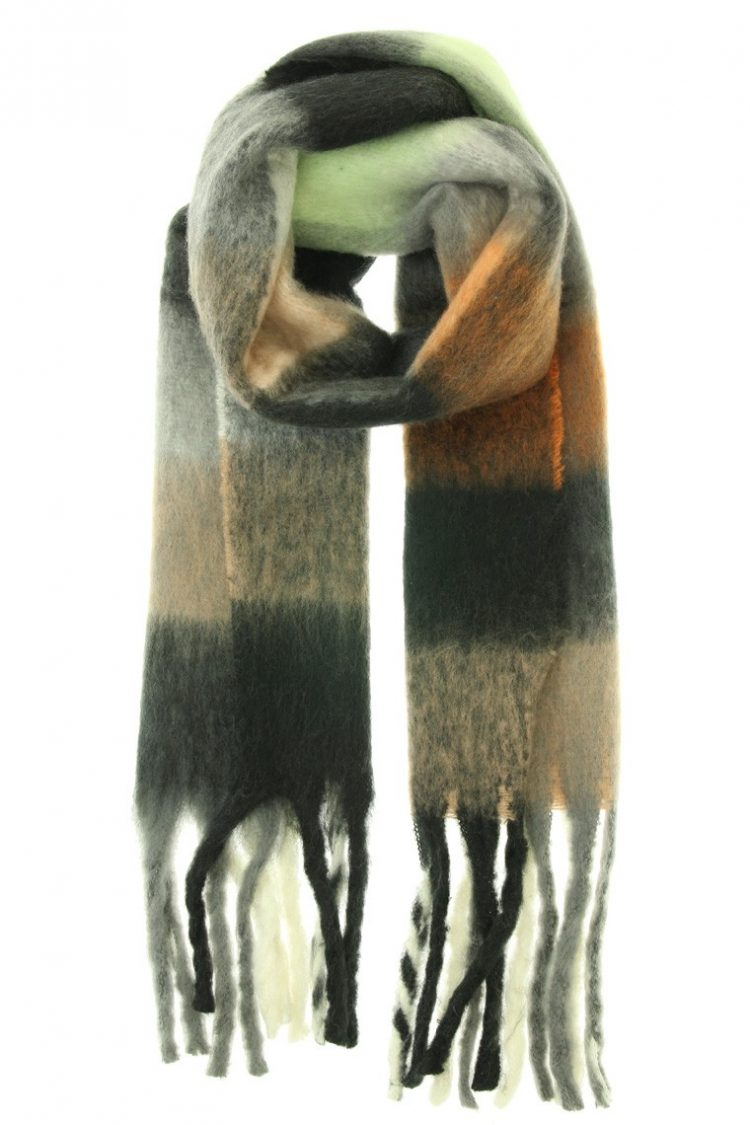 Sjaal Fabianne geblokte kleuren sjaal- zwart