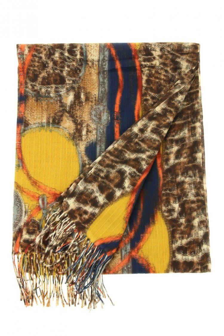 Sjaal Leopard bewerkt mosterd geel extra groot