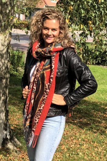 Sjaal Leopard gemêleerd rood -extra lange sjaal