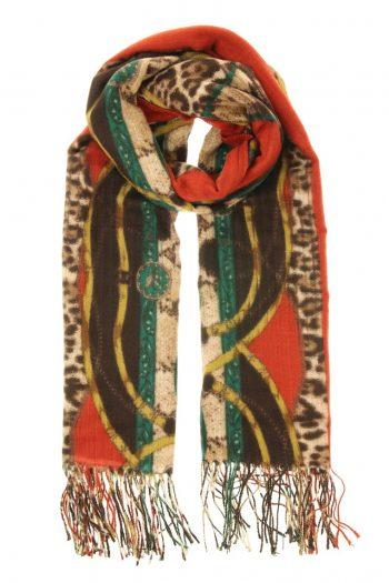 Sjaal Leopard gemêleerd rood