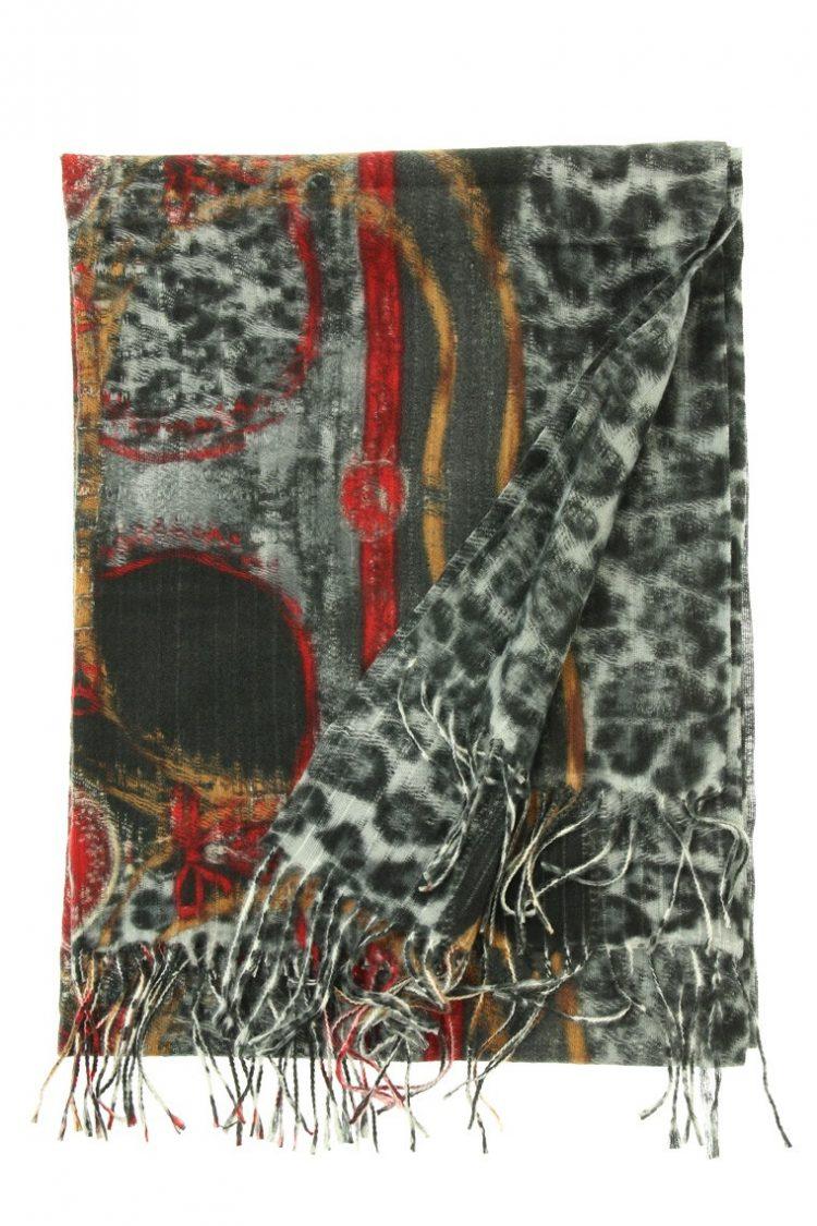 Grote Sjaal Leopard bewerkt zwart