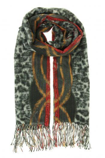 Sjaal Leopard bewerkt zwart