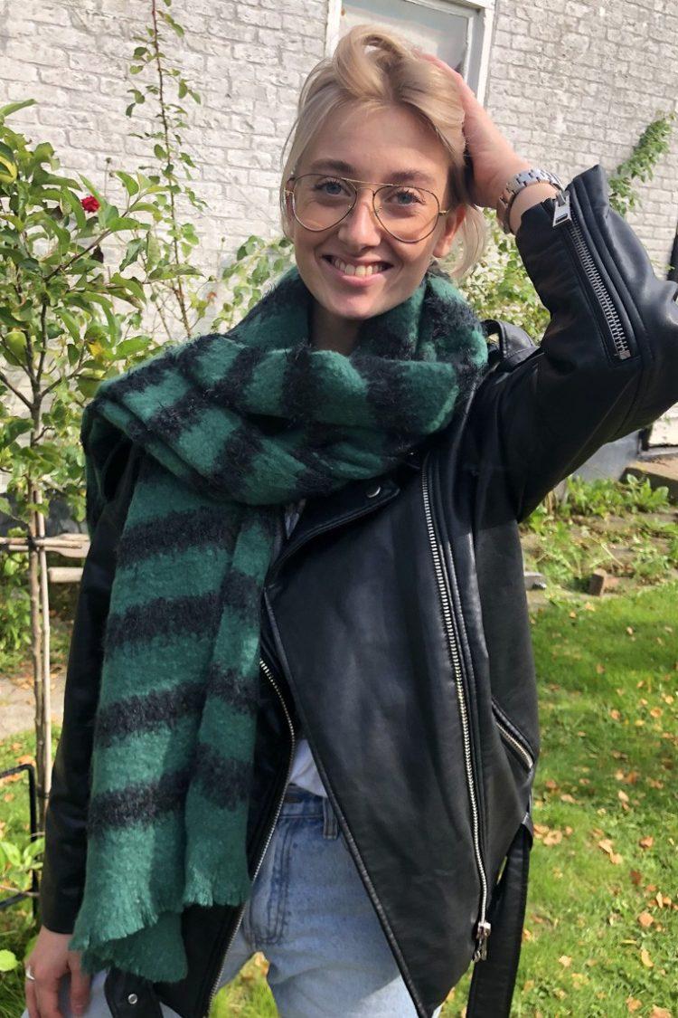 Sjaal Liza lang gestreept - groen zwart