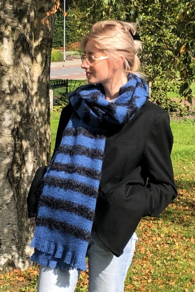 Sjaal Liza lang gestreept - blauw