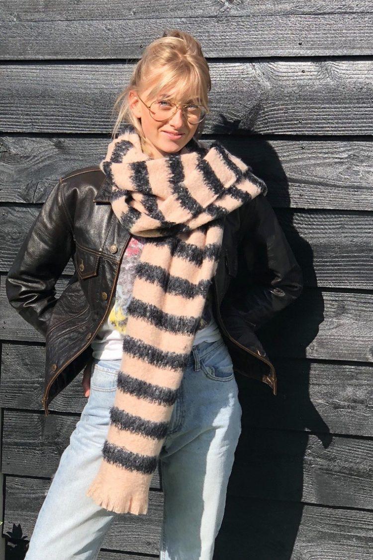 Sjaal Liza lang gestreept - roze