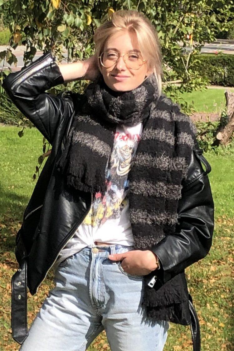 Sjaal Liza gestreept - grijs zwart