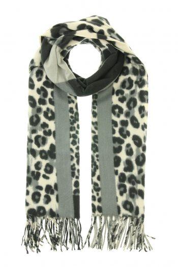 Sjaal Lea met blokken en dierenprint - grijs zwart