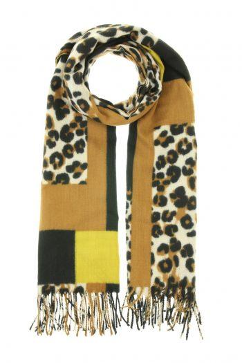 Sjaal Lea met blokken en dierenprint - oker -bruin