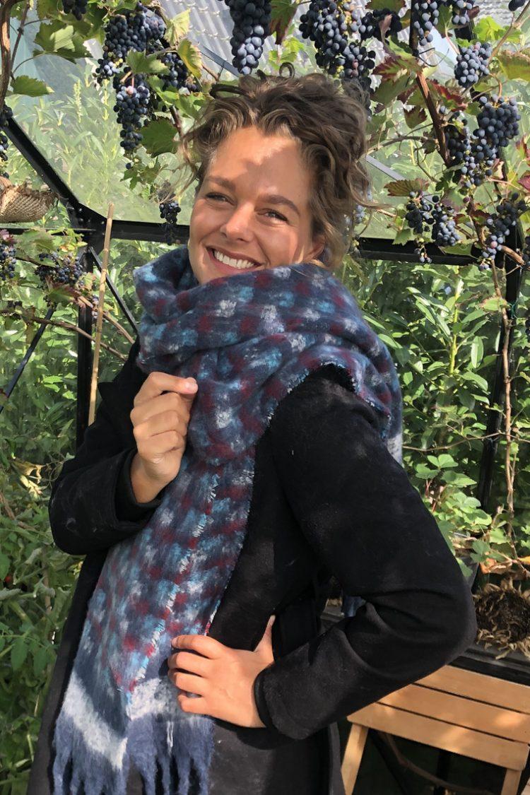 Sjaal Agnes blokjes gemêleerd blauw