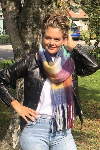 Sjaal Fabianne geblokte kleuren sjaal- blauw extra lang