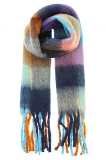 Sjaal Fabianne geblokte kleuren sjaal- blauw